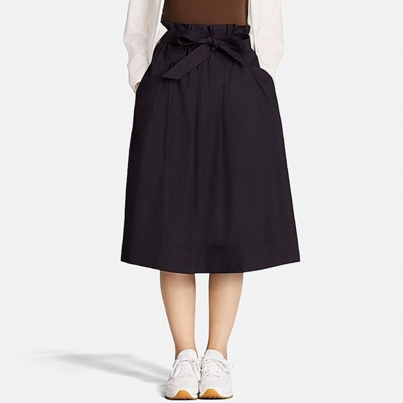 e0567fb929 Uniqlo Skirts | High Waisted Tie Skirt Navy Blue | Poshmark